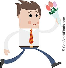 Young man with a bouquet of flowers on a white background...