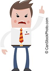 Angry boss on a white background. The flat style. A color...