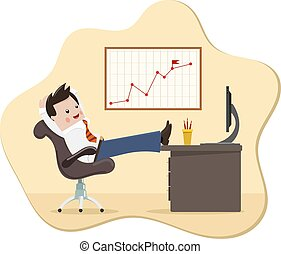 Satisfied businessman. Color image of a happy successful young businessman in a chair with