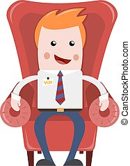 Sitting businessman. Resting businessman in red comfortable...