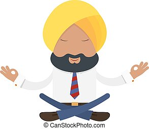 Businessman in a yellow turban on a white background Indian...