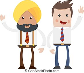 Two businessmen on a white background. Cartoon cheerful businessman. The flat style. The