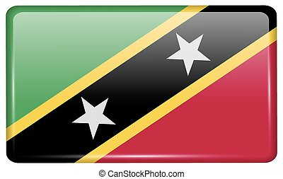 Flags Saint Kitts Nevis in the form of a magnet on...