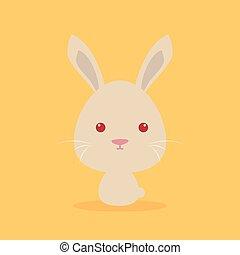 Cute Cartoon Wild rabbit - Cute cartoon wild rabbit on a...