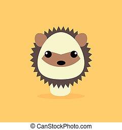 Cute Cartoon Wild porcupine - Cute cartoon wild porcupine on...
