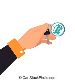 hand car key rent keychain vehicle auto vector illustration...
