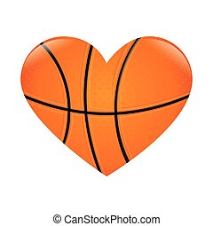 basketball heart love passion sport game ball vector...