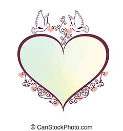 Doves with heartshaped frame.