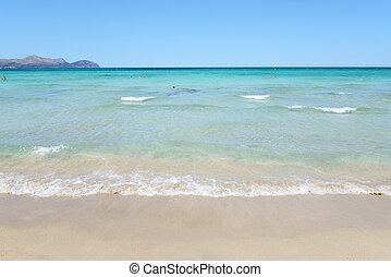 The beach in Alcudia region, Mallorca, Spain