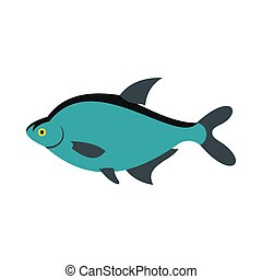 Fish icon, flat style - Fish icon in flat style isolated on...