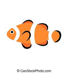 Clown fish icon, flat style - Clown fish icon in flat style...