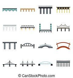 Bridge icons set, flat style - Flat bridge icons set....