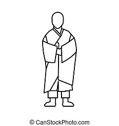 Buddhist monk icon, outline style - Buddhist monk icon in...