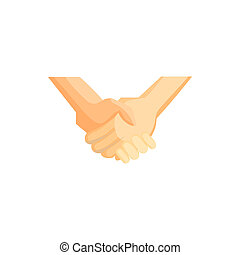 Handshake icon, cartoon style - Handshake icon in cartoon...