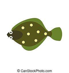 Flounder icon, flat style - Flounder icon in flat style...
