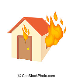 House is on fire icon, cartoon style - House is on fire icon...