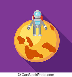 Astronaut on the moon icon in flat style