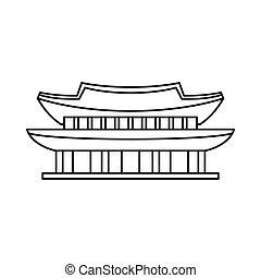Gyeongbokgung palace, Seoul icon, outline style -...