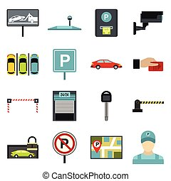 Car parking icons set, flat style - Flat car parking icons...
