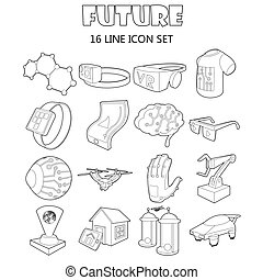 Future icons set, outline style - Outline future icons set....