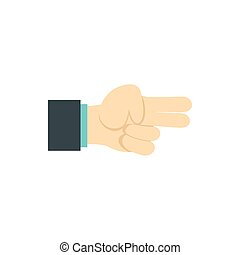 Gesture index and middle finger together icon in flat style...