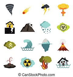Natural disaster icons set, flat ctyle - Flat natural...