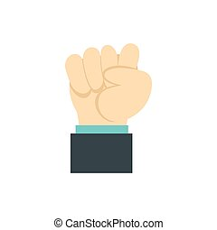 Clenched fist icon, flat style - Clenched fist icon in flat...