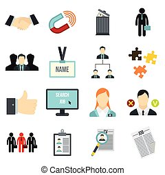 Human resource management icons set, flat style - Flat human...