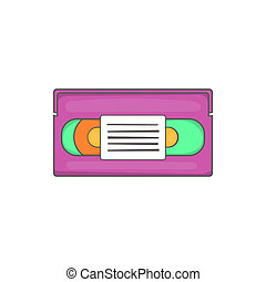 Video cassette icon, cartoon style - Video cassette icon in...