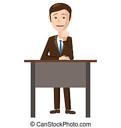 Businessman sitting in office icon, cartoon style -...