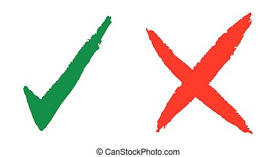 Hand drawn check marks - Vector illustration of the hand...