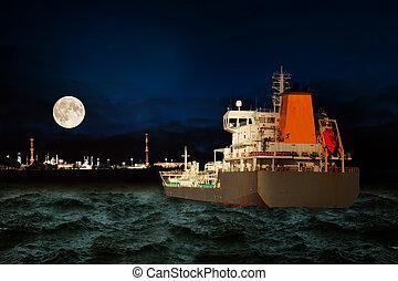 industria, olio, notte