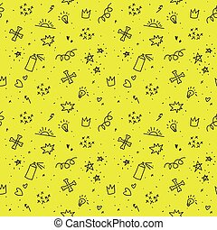 Sketchy punk images. Seamless teenagers pattern. - Sketchy...