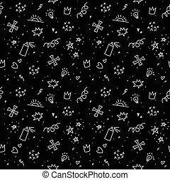 Sketchy punk images. Seamless vector pattern. Teenager...