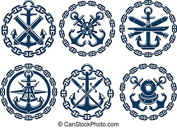 Marine and nautical emblems, icons, badges. Graphic insignia...