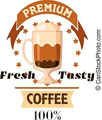 Cappuccino latte coffee cup cafe label