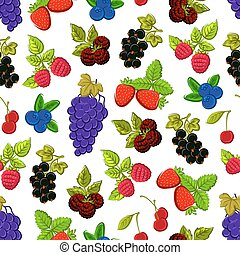 Berries and fruits seamless background