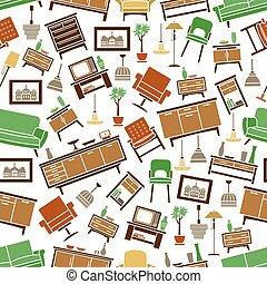 Furniture seamless pattern. Room interior elements
