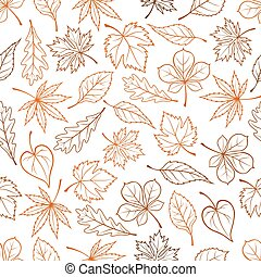 Leaves seamless vector pattern background - Leaves outline...