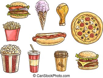 Fast food snacks and drinks icons sketch set - Fast food...