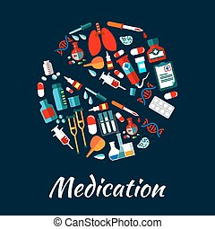 Medication poster with icons in pill shape