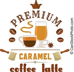 Premium coffee latte caramel icon - Coffee Latte Caramel cup...