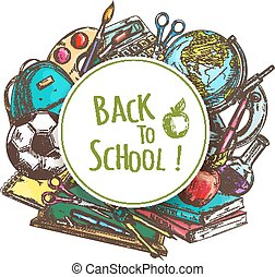 Back to school banner with school supplies Rucksack, globe,...