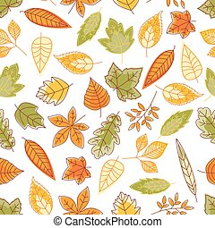 Falling leaves seamless pattern background - Leaves seamless...