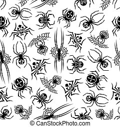 Black spiders seamless halloween background