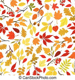 Autumn leaves and berries seamless background - Colorful...
