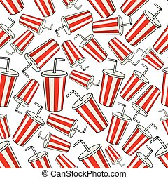 Classic red Coke paper cup seamless background - Coke paper...