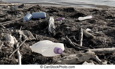 Dump Garbage On The Beach Near The Sea, Environmental Pollution