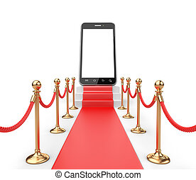 Staircase covered with red carpet with barrier rope and modern smartphone on top front view