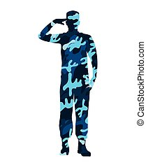 military figure avatar camouflage isolated icon
